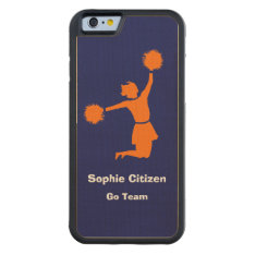 Girly Cheerleader In Orange On Blue Carved Maple Iphone 6 Bumper Case at Zazzle