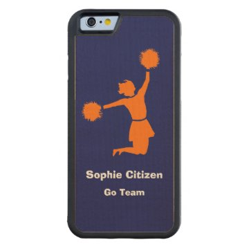 Girly Cheerleader in Orange on Blue Carved® Maple iPhone 6 Bumper at Zazzle