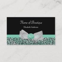 Girly Cheetah Print Boutique Cute Mint Bow Business Card