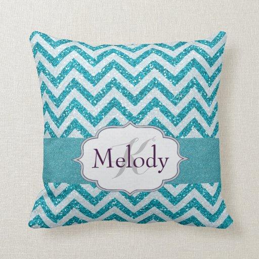 Cute Aqua Throw Pillows : Girly Chevron Aqua Turquoise Blue Sparkle Glitter Throw Pillow Zazzle