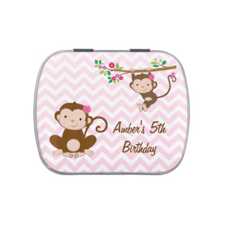 Girly Chevron Jungle Themed Birthday Party Jelly Belly Candy Tin