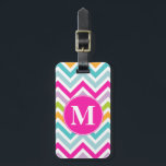 """Girly Chevron Monogram Luggage Tag<br><div class=""""desc"""">Spot your luggage from far away with this stylish acrylic luggage tag done in a bright pink, aqua, yellow, green, lavender and white chevron zigzag pattern. The front has a round hot pink disc on top of the pattern, with a custom bold white one letter monogram. The back is solid...</div>"""