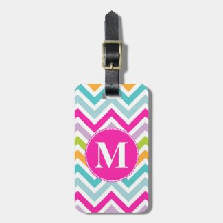 Girly Chevron Monogram Luggage Tag