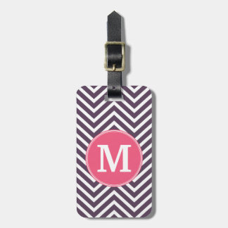 Girly Chevron Pattern with Monogram - Pink Purple Bag Tag
