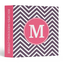 Girly Chevron Pattern with Monogram - Pink Purple Binder