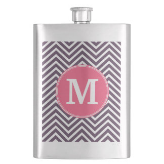 Girly Chevron Pattern with Monogram - Pink Purple Flask