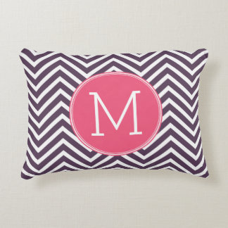 Girly Chevron Pattern with Monogram - Pink Purple Accent Pillow
