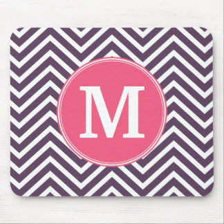 Girly Chevron Pattern with Monogram - Pink Purple Mouse Pad