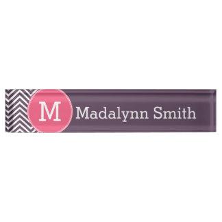 Girly Chevron Pattern with Monogram - Pink Purple Name Plates