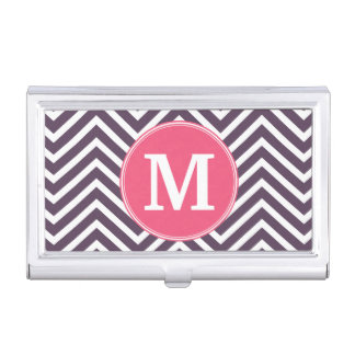 Girly Chevron Pattern with Monogram - Pink Purple Business Card Holders