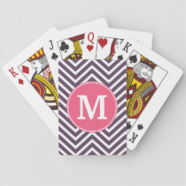 Girly Chevron Pattern with Monogram - Pink Purple Playing Cards