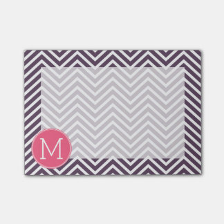 Girly Chevron Pattern with Monogram - Pink Purple Post-it® Notes