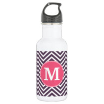 Girly Chevron Pattern with Monogram - Pink Purple Water Bottle