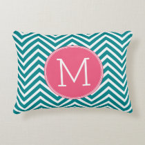 Girly Chevron Pattern with Monogram - Pink Teal Accent Pillow