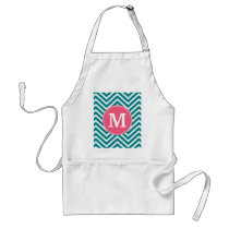 Girly Chevron Pattern with Monogram - Pink Teal Adult Apron
