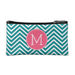 Girly Chevron Pattern with Monogram - Pink Teal Cosmetic Bags