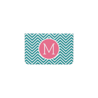 Girly Chevron Pattern with Monogram - Pink Teal Business Card Holder