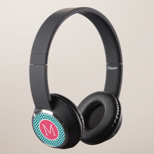 Girly Chevron Pattern with Monogram - Pink Teal Headphones