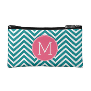 Girly Chevron Pattern With Monogram - Pink Teal Makeup Bag at Zazzle