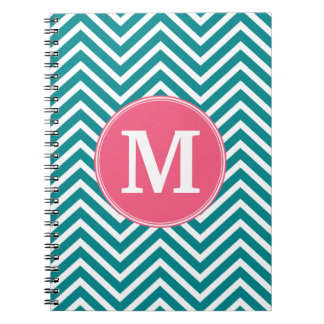 Girly Chevron Pattern with Monogram - Pink Teal Spiral Notebooks