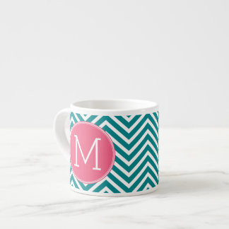 Girly Chevron Pattern with Monogram - Pink Teal 6 Oz Ceramic Espresso Cup