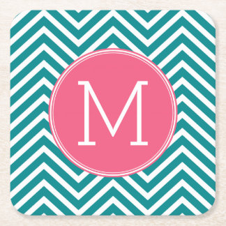Girly Chevron Pattern with Monogram - Pink Teal Square Paper Coaster