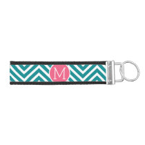 Girly Chevron Pattern with Monogram - Pink Teal Wrist Keychain