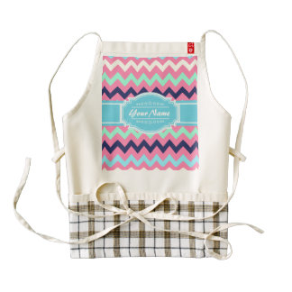 Girly Chevron Personalized | N1 Zazzle HEART Apron