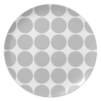 Girly Chic Accessory Party Treat Silver Polka Dots Dinner Plate