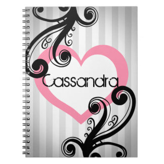 Girly Chic and elegant swirls with pink heart Spiral Notebook