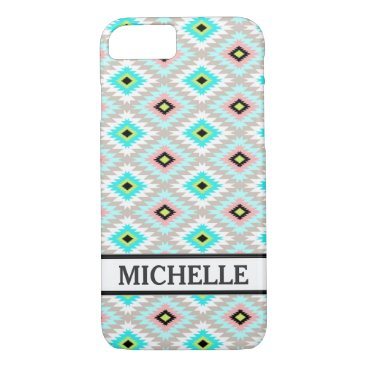 Aztec Themed Girly Chic Aztec Pattern Persoanlized Name iPhone 8/7 Case