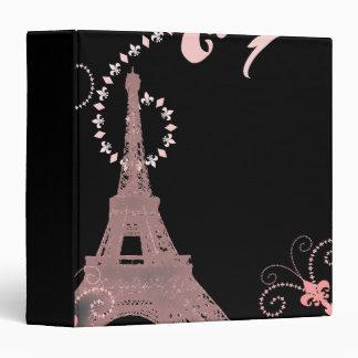 girly chic black and pink paris eiffel tower binder