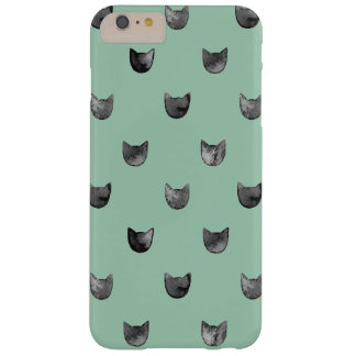 Girly Chic Cute Cat Pattern Green Barely There iPhone 6 Plus Case