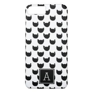 Girly chic Doodle black cat Monogram Personalized iPhone 8 Plus/7 Plus Case