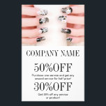 """girly chic elegant manicure nails nail salon flyer<br><div class=""""desc"""">girly chic elegant manicure nails nail salon business card template. Chic Nail artist business cards.</div>"""