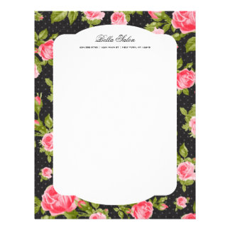 Girly Chic Elegant Vintage Floral Roses Border Letterhead Template