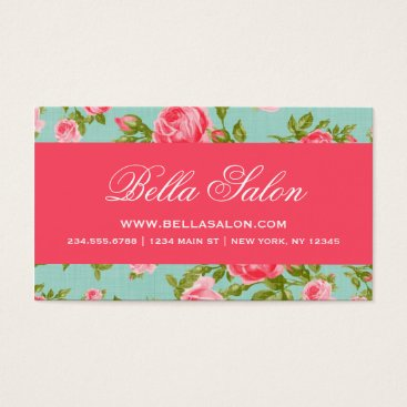 Professional Business Girly Chic Elegant Vintage Floral Roses Business Card