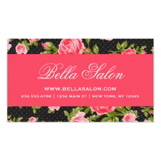 Girly Chic Elegant Vintage Floral Roses Business Card Template