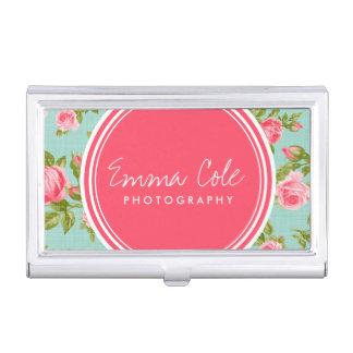 Girly Chic Elegant Vintage Floral Roses Monogram Business Card Holder