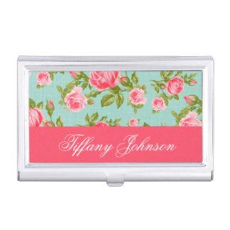 Girly Chic Elegant Vintage Floral Roses Monogram Case For Business Cards