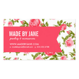 Girly Chic Elegant Vintage Floral Roses & Ribbon Business Card Templates