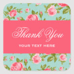 Girly Chic Elegant Vintage Floral Roses Square Sticker