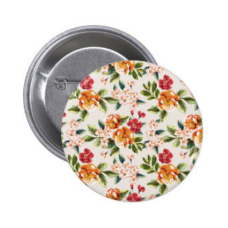 Girly Chic Floral Pattern Watercolor Illustration Button