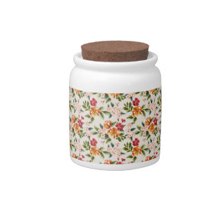 Girly Chic Floral Pattern Watercolor Illustration Candy Dish