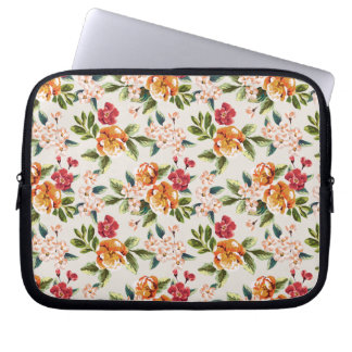 Girly Chic Floral Pattern Watercolor Illustration Laptop Sleeve