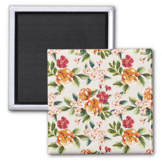 Girly Chic Floral Pattern Watercolor Illustration 2 Inch Square Magnet