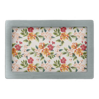 Girly Chic Floral Pattern Watercolor Illustration Rectangular Belt Buckle