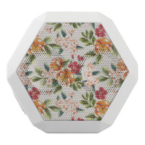 Girly Chic Floral Pattern Watercolor Illustration White Bluetooth Speaker