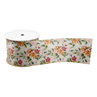 Girly Chic Floral Pattern Watercolor Illustration Satin Ribbon