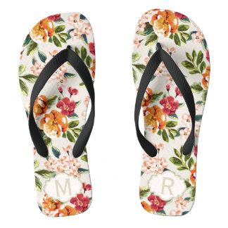 Girly Chic Floral Pattern with Monogram Name Flip Flops